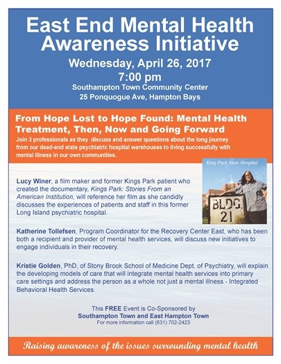 Join us on Wednesday, April 26, East End Mental Health Awareness Initiative