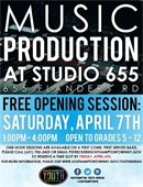 Free Opening Session at Music Production at Studio 655!