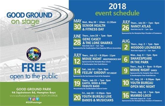 2018 GGP Event Schedule