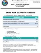 Skate Park Fee Schedule