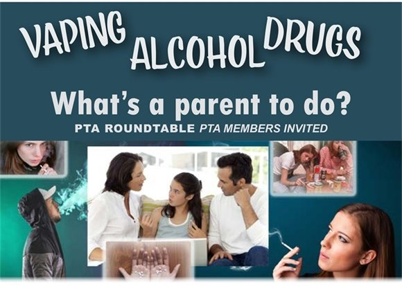 PARENTS Don't Miss TONIGHT'S Roundtable: Vaping, ALCOHOL & DRUGS!
