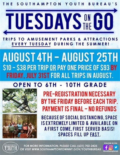 Tuesdays on the Go Trip Schedule for August