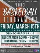 3 on 3 Basketball Tournament Flyer