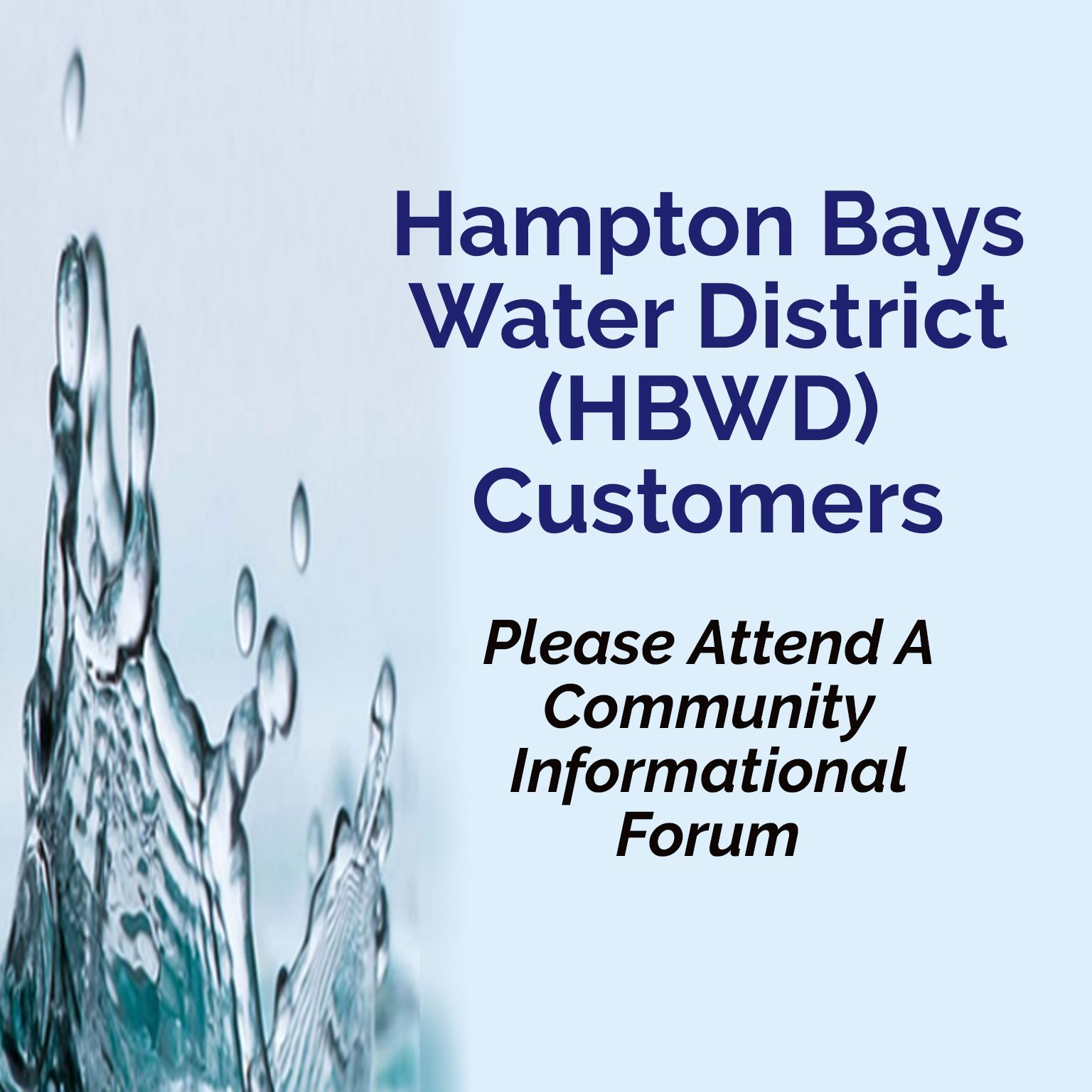Hampton Bays Water District Community Info Forum